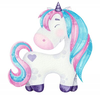 Posters watercolor cute Unicorn illustrations  pink and blue isolated on white