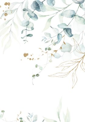 Posters Watercolor floral illustration with gold branches - green leaf frame / border, for wedding stationary, greetings, wallpapers, fashion, background. Eucalyptus, olive, green leaves, etc.