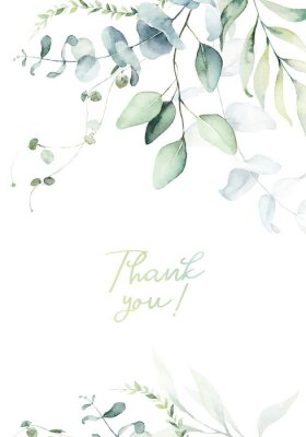 Posters Watercolor floral illustration with green branches & leaves - frame / border, for wedding stationary, greetings, wallpapers, fashion, background. Eucalyptus, olive, green leaves, etc.