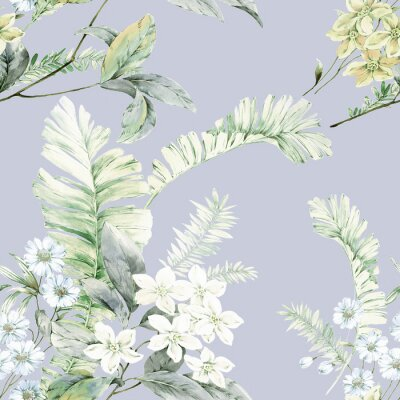 Posters Watercolor flowers illustration