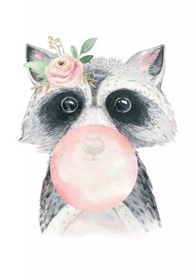 Posters Watercolor forest cartoon isolated cute baby raccoon, animal with flowers. Nursery woodland illustration. Bohemian boho drawing for nursery poster, pattern