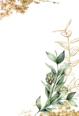 Posters Watercolor golden card with linear branch and artichoke. Hand painted holiday card with green eucalyptus leaves and bud on white background. Spring illustration for design, print, fabric, background.