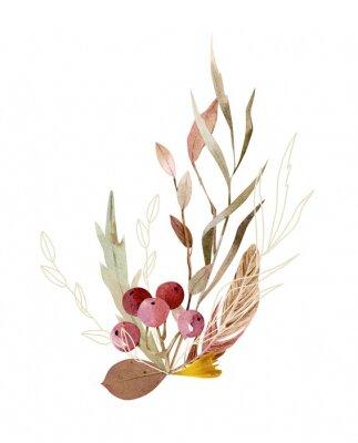 Posters Watercolor hand painted composition - arrangement, bouquet. Soft gentle color palette.