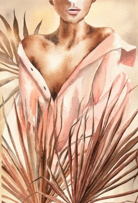 Posters Watercolor illustration.  Beautiful woman or girl in a shirt with dry palm leaves.  African American, African.  Design for cards, paper, weddings, invitations, scrapbooking, poster, invitations