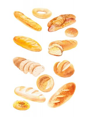 Posters Watercolor illustration of different buns and bread. Isolated on white background