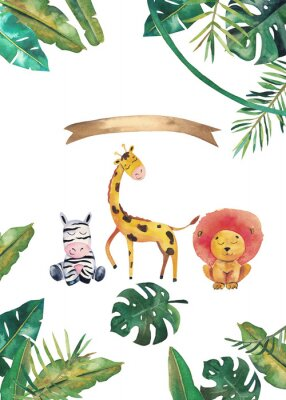 Posters Watercolor invitation with wild animals and jungle leaves. Children hand-drawn illustration