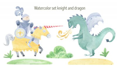 Posters Watercolor knight and dragon duel