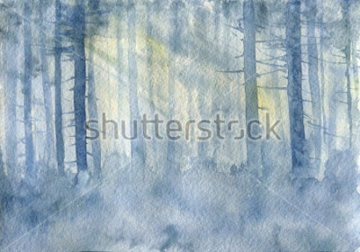 Posters watercolor landscape with mist and trees trunks, cobweb morning, fog in a forest, hand drawn illustration, nature background