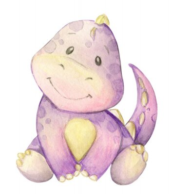 Posters watercolor,  little dinosaur. pink. isolated