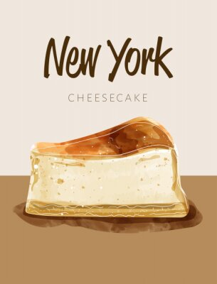Posters Watercolor paining in retro style of new york cheesecake.  Design for printing, postcard, menu, and others. Vector illustration.