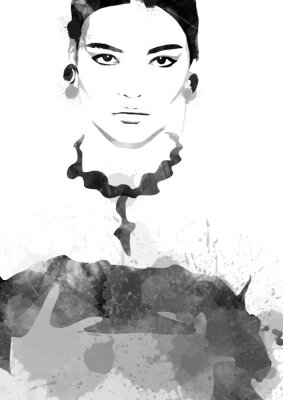 Posters Watercolor painting fashion woman black and white