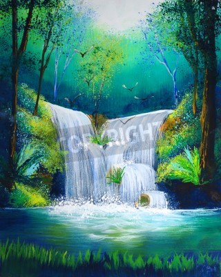 Posters watercolor painting of waterfall