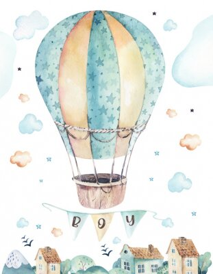 Posters Watercolor set background illustration of a cute cartoon and fancy sky scene complete with airplanes, helicopters, plane and balloons, clouds. Boy seamless pattern. It's a baby shower design