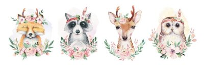 Posters Watercolor set of forest cartoon isolated cute baby fox, deer, raccoon and owl animal with flowers. Nursery woodland illustration. Bohemian boho drawing for nursery poster, pattern