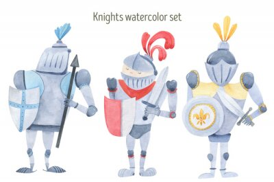Posters Watercolor set of knights swords, shields, armor