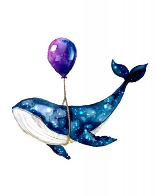 Posters Watercolor sketch blue whale. Illustration isolated on white background for design,print or background. cosmic texture with balloon. Night starry sky with paint strokes and swashes