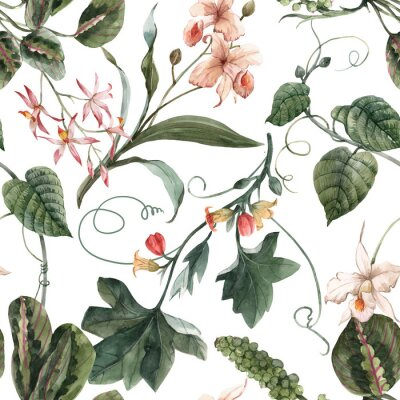 Posters Watercolor tropical seamless pattern