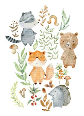Posters Watercolor woodland arrangements.