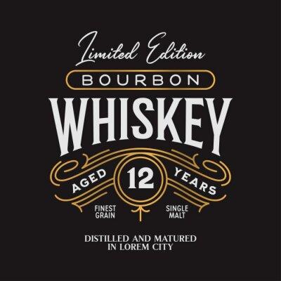Posters Whiskey Bourbon label logo emblem. Vintage vector illustration.