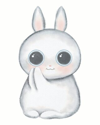 Posters White kawaii cartoon cute little rabbit with big eyes isolated on white background. Watercolor hand drawn illustration
