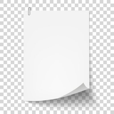Posters White sheet of paper with metal paper clip. Metal paper clip attached to paper. Vector illustration.