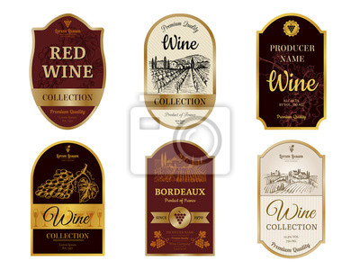 Posters Wine vintage labels. Alcohol wine champagne drinks badges luxury style with pictures of vineyard silhouettes and grapes vector pictures. Illustration of alcohol drink wine, vineyard label for beverage