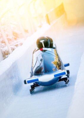 Posters Wintersport - Zweierbob im Eiskanal