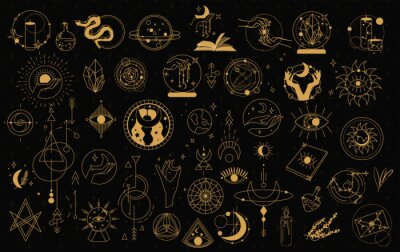 Posters Witch Magic, Mystical and Astrology objects symbols. Doodle esoteric, boho mystical hand drawn elements. Magic and witchcraft, witch esoteric alchemy. Isolated Minimalistic objects.Vector illustration