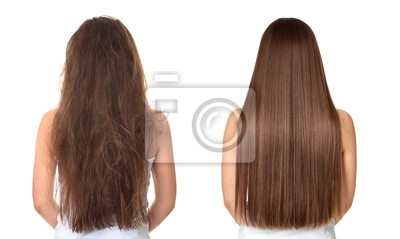 Posters Woman before and after hair treatment on white background