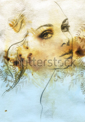 Posters Woman face. Hand painted fashion illustration