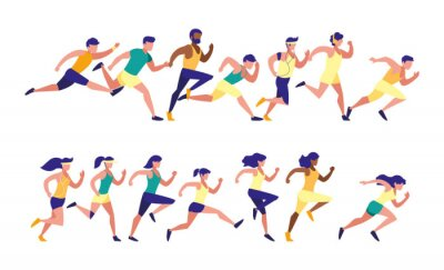 Women and men running set vector design
