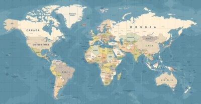Posters World Map Vector. Illustration détaillée de la carte du monde