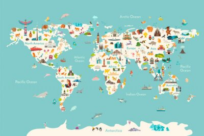 Posters World map vector illustration. Landmarks, sight and animals hand draw icon. World vector poster for children, cute illustrated. Travel concept card
