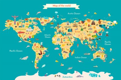 Posters World map vector illustration with landmarks. Travel map with landmarks, animals and sight of country.