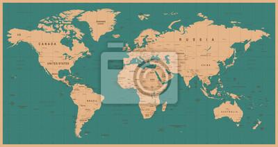 Posters World Map Vector Vintage. Illustration détaillée de la carte du monde