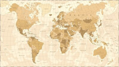 Posters World Map Vintage Vector