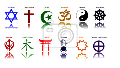 Posters world religion symbols colored signs of major religious groups and religions. easy to modify