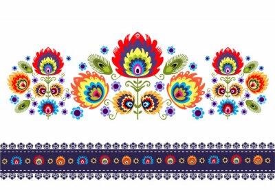 Posters Wzór Ludowy z kwiatami
