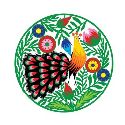 Posters wzór Ludowy z kwiatami i pawiem, Łowicki