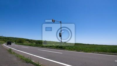 高原 道路 北海道 風景