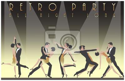 А couple dansant le Charleston: Rétro modèle de conception d'invitation de partie. Vector illustration ..