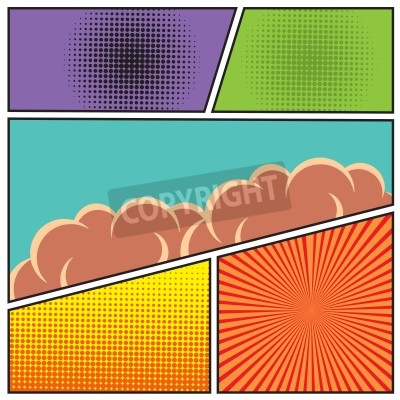Posters Bande dessinée pop art modèle vide mise en page modèle à nuages poutres et points modèle fond vecteur Illustration