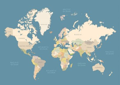 Posters Highly detailed world map with labeling. Сountries in different color