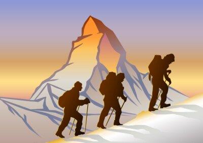 Posters Matterhorn ve Dağcılar