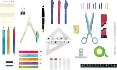 Posters おしゃれでシンプルなデザインの文房具セット 水彩風のイラスト