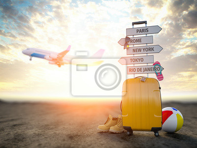 Posters Yellow suitcase and signpost with travel destination, airplane.Tourism and  travel concept background.