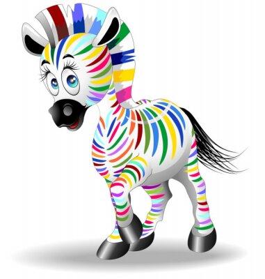 Posters Zebra Cartoon Quadricromia-quadrichromie Zebra-vectorielle