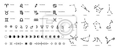Posters Zodiac signs and constellations. Ritual astrology and horoscope symbols with stars planet symbols and Moon phases. Vector set pictogram elements constellation illustration for ancient alchemy