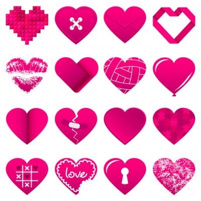 Sticker 16 Résumé coeurs roses