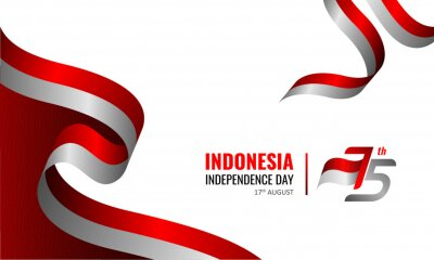 Sticker 17 August 1945, Happy Indonesia Independent Day. Dynamic indonesian flag banner template. Vector illustration